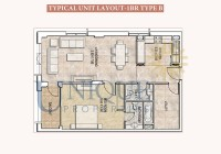 Dubai Wharf Typical Unit Layout 1BR Type B