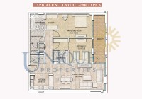 Dubai Wharf Typical Unit Layout 2BR Type A