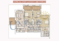 Dubai Wharf Typical Unit Layout 3BR Type D