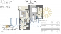 Vida Residence Dubai Mall Type 1B B Unit 8 Levels 8 to 15 and 17 to 38