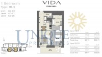 Vida Residence Dubai Mall Type 1B D Unit 1 and 2 Levels 40 to 55