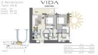 Vida Residence Dubai Mall Type 2B B Unit 1 Levels 8 to 15 and 17 to 38