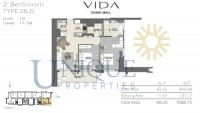 Vida Residence Dubai Mall Type 2B D Unit 10 Levels 17 to 38