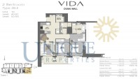 Vida Residence Dubai Mall Type 2B E Unit 10 Levels 40 to 55