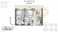Vida Residence Dubai Mall Type 2B F Unit 6 Levels 40 to 55