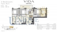 Vida Residence Dubai Mall Type 3B A Unit 5 Levels 8 to 15