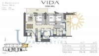 Vida Residence Dubai Mall Type 3B A Unit 9 Levels 17 to 38