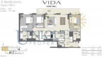 Vida Residence Dubai Mall Type 3B C Unit 2 Levels 17 to 38